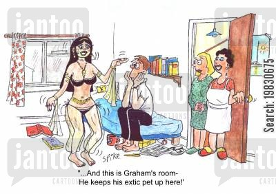belly dancers cartoon humor: 'And this is Graham's room, he keeps his exotic pet up here!'