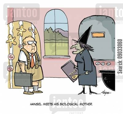 long lost son cartoon humor: Hansel meets his biological mother.