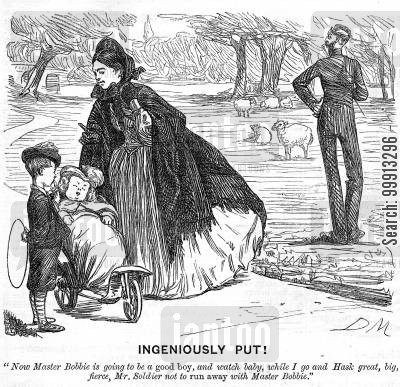park cartoon humor: Lady in park with children, about to speak to a soldier