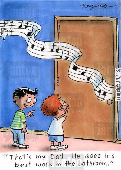singers cartoon humor: 'That's my dad. He does his best work in the bathroom.'