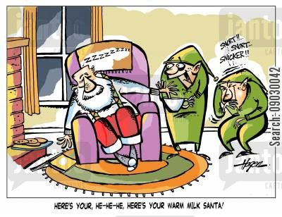 incontinence cartoon humor: 'Here's your, he-he-he, here's your warm milk Santa!'