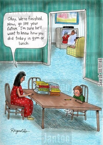 school day cartoon humor: 'Okay. We're finished. Now, go see your father. I'm sure he'll want to know how you did today in gym or lunch.'