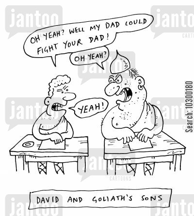 religious education cartoon humor: David and Goliath's sons