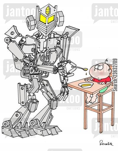 baby foods cartoon humor: Robot feeding Baby.