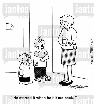 arguments cartoon humor: 'He started it when he hit me back.'