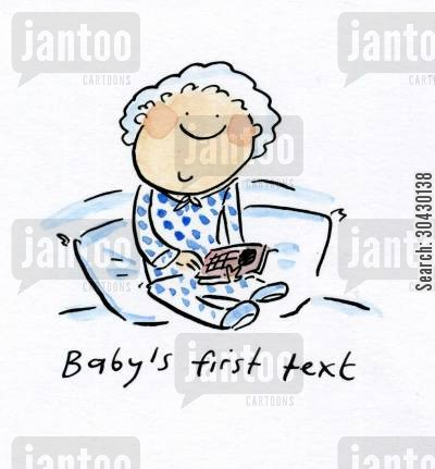 firsts cartoon humor: Baby's first text.