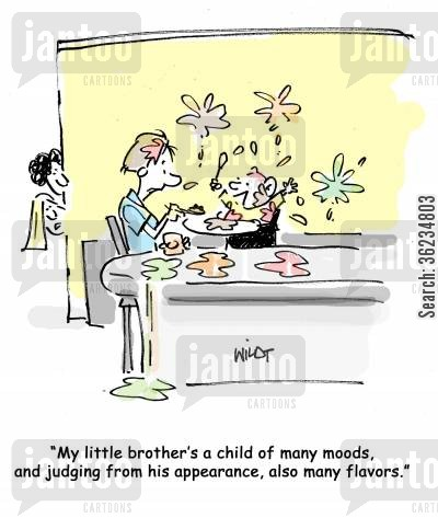 messy eater cartoon humor: My little brother's a child of many moods, and judging from his appearance, also many flavors.