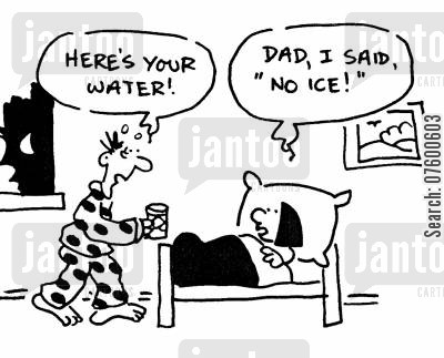 bed time cartoon humor: Father nursing his sick child