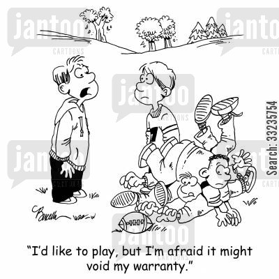 playgrounds cartoon humor: 'I'd like to play, but I'm afraid it might void my warranty.'