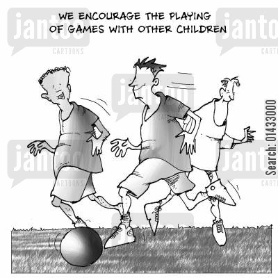 goal keepers cartoon humor: We encourage the playing of games with other children.