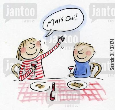 gingham cartoon humor: Mais Oui.