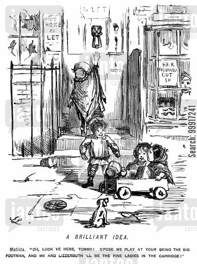 footmen cartoon humor: Children playing in the street