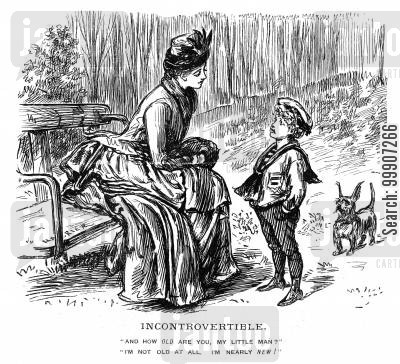 age cartoon humor: A lady talking to a boy in the park