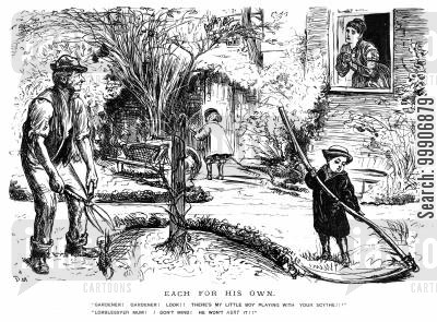 domestic workers cartoon humor: A young boy playing with a scythe