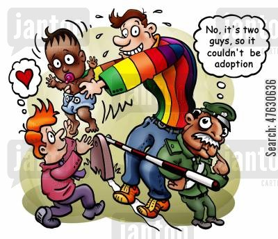 foreign cartoon humor: Gay adoption.