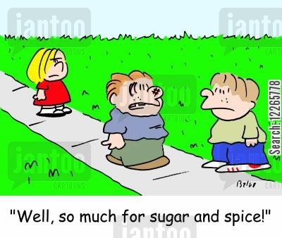 little boy cartoon humor: 'Well, so much for sugar and spice!'
