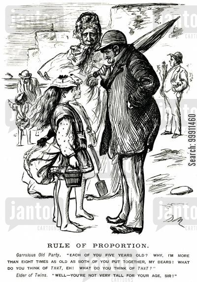 grown cartoon humor: Old man talking to young girls about age