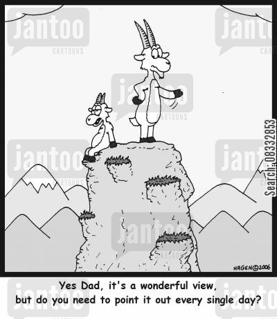 maountain-goat cartoon humor: 'Yes Dad, it's a wonderful view, but do you need to point it out every single day?'