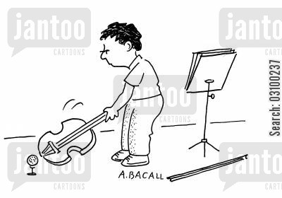 school orchestras cartoon humor: Boy playing golf with a celloviolin.