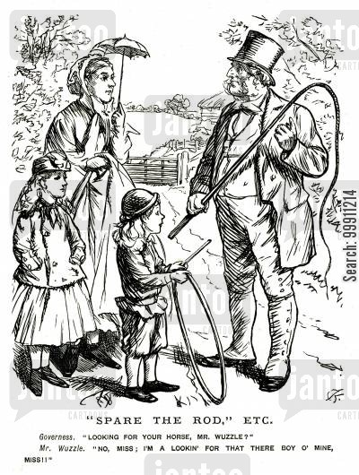 governess cartoon humor: Father looking for his son to punish with a whip