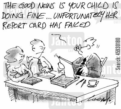 parents evening cartoon humor: The good news is your child is doing fine, unfortunately her report card has failed.