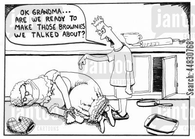 bakes cartoon humor: 'Ok Grandma...Are we ready to make those brownies we talked about?'