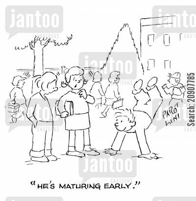handstands cartoon humor: 'He's maturing early.'