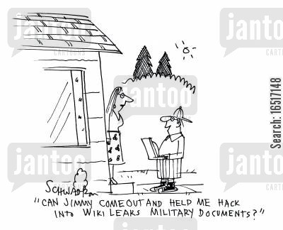 hider cartoon humor: 'Can Jimmy come out and help me hack into Wiki Leaks military documents?'