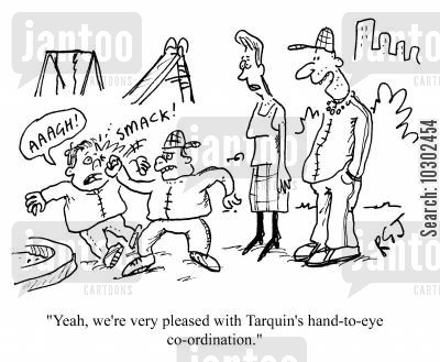 thumps cartoon humor: 'Yeah, we're very pleased with Tarquin's hand-to-eye co-ordination.'