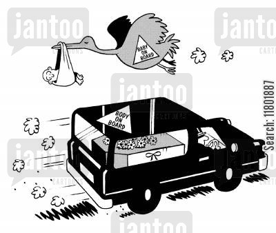 baby on board cartoon humor: Stork flies past with baby and notice saying 'baby on board' as hearse drives past with notice saying 'body on board'.