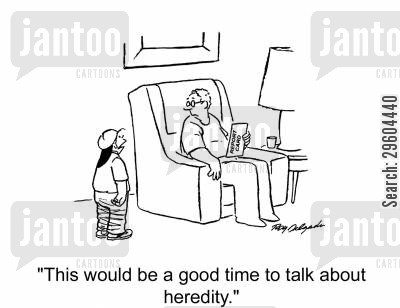 ancestry cartoon humor: 'This would be a good time to talk about heredity.'