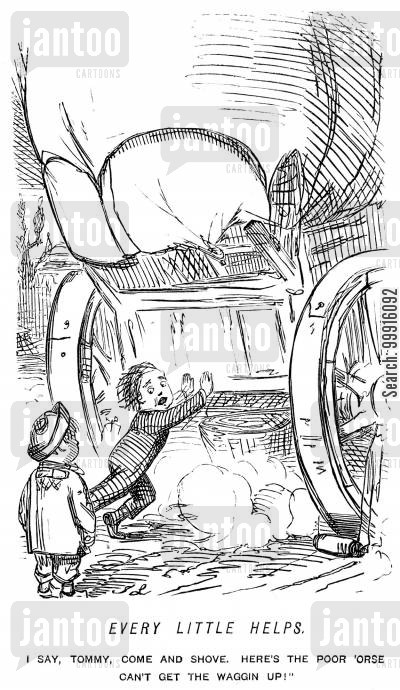 young cartoon humor: Small boy helping to push a wagon up a hill