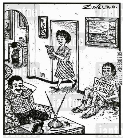 relative poverty cartoon humor: A Street-less person in a house.