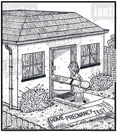 kit cartoon humor: A women is testing her House to see if it's Pregnant with a 'Home Pregnancy Test' kit
