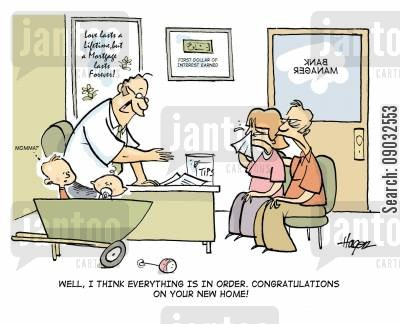first time buyer cartoon humor: 'Well I think everything is in order. Congratulations on your new home!'