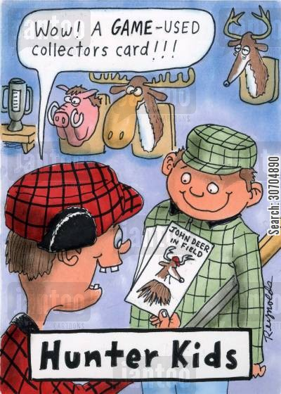 collectors cards cartoon humor: 'Wow! A game used collectors card!'