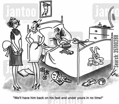 brat cartoon humor: 'We'll have him back on his feet and under yours in no time!'