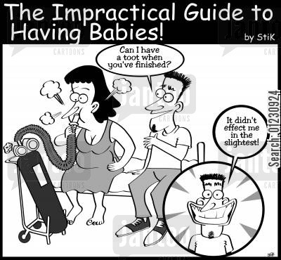 pregnant cartoon humor: The Impractical Guide to Babies: 'Give us a toot...'