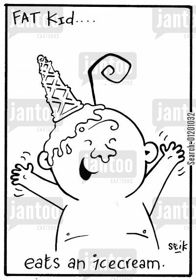 fat kid cartoon humor: Fat Kid 10- Eats an ice-cream