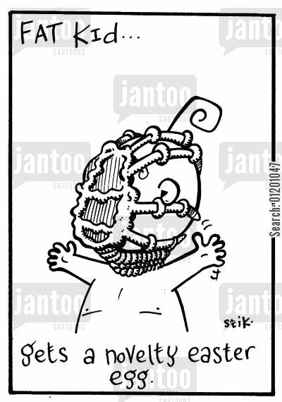 face huggers cartoon humor: Fat Kid 15- Gets a novelty easter egg