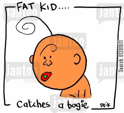 bodey cartoon humor: Fat Kid 23- Catches a bogie