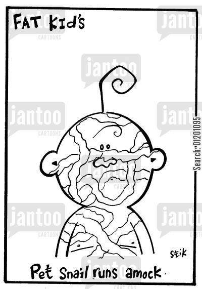 snail trails cartoon humor: Fat Kid 31- Pet slug runs amok