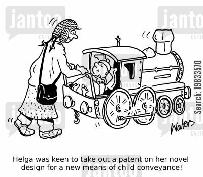 buggies cartoon humor: Helga was keen to take out a patent on her novel design for a new means of child conveyance!
