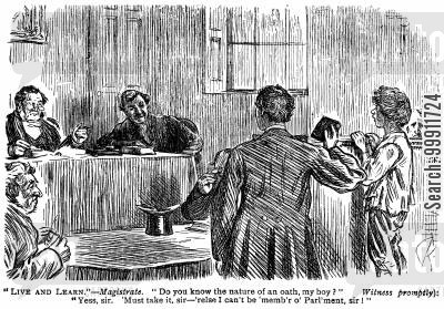 courts of law cartoon humor: Boy in the witness box swearing an oath