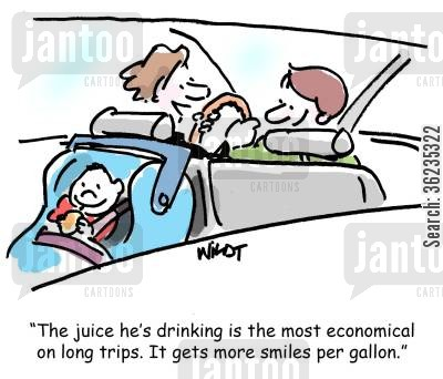 economi cartoon humor: treat for child in car gets more smiles per gallon