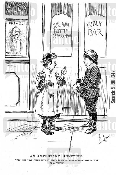 shops cartoon humor: Two Children Talking.