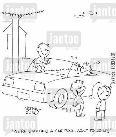 car pool cartoon humor: 'We're starting a car pool. Want to join?'
