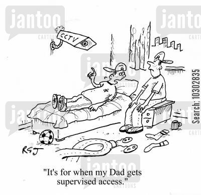 close circuit television cartoon humor: 'It's for when my Dad gets supervised access.'