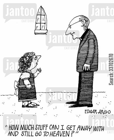 questioning vicar cartoon humor: 'How much stuff can I get away with and still go to heaven?'