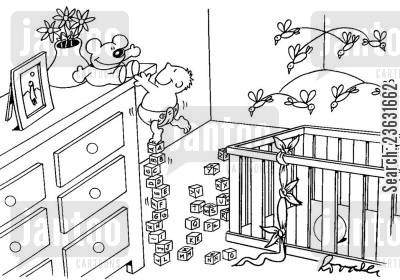 crawls cartoon humor: Child climbs up alphabet bricks to reach his teddy bear.